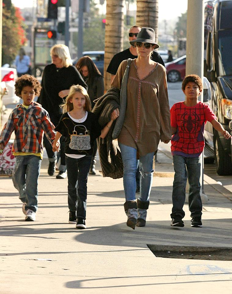 Heidi Klum and bodyguard/boyfriend Martin Kristen make it a family day as they take Klum's children, Leni Klum, Henry, Lou and Johan Samuel, around Los Angeles