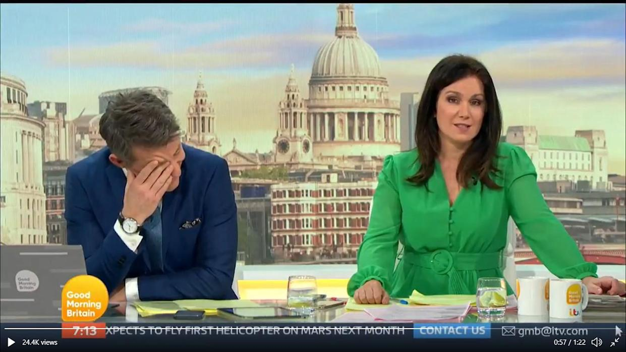 Ben Shephard blurted out the word nipples while talking about Susanna Reid's dress on GMB. (ITV)