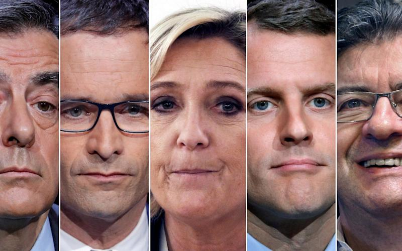 A combination picture shows five candidates for the French 2017 presidential election, from L-R, Francois Fillon, the Republicans political party candidate, Benoit Hamon, French Socialist party candidate, Marine Le Pen, French National Front (FN) political party leader, Emmanuel Macron, head of the political movement En Marche ! (Onwards !), Jean-Luc Melenchon, candidate of the French far-left Parti de Gauche - REUTERS