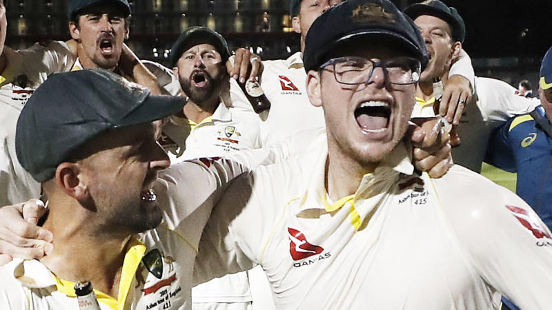 Steve Smith, pictured here after Australia's win in the fourth Ashes Test.