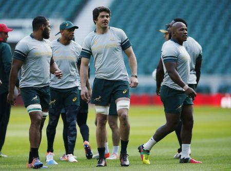 Britain Rugby Union - South Africa Captain's Run - Twickenham Stadium - 11/11/16 South Africa's Warren Whiteley and Bongi Mbonambi during the captain's run Action Images via Reuters / Andrew Boyers Livepic EDITORIAL USE ONLY.