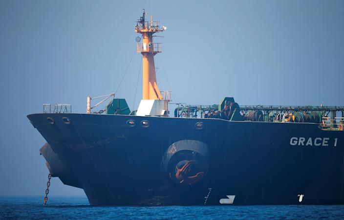 Iranian oil tanker Grace 1 sits anchored awaiting a court ruling on whether it can be freed after it was seized in July by British Royal Marines off the coast of the British Mediterranean territory, in the Strait of Gibraltar, southern Spain, August 15, 2019. REUTERS/Jon Nazca