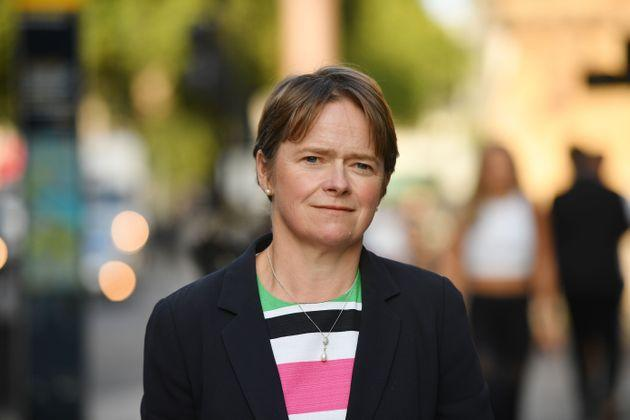 Head of NHS Test and Trace Dido Harding walks through Parliament Square in central London