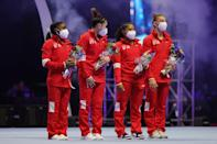 """<p><strong>Olympic artistic gymnastics team final podium contenders:</strong> The US, China, and Russia are the three top contenders for medals at the Olympics, and Sacramone Quinn and Chan both agree that the results will most likely play out in that order. Team USA - consisting of Simone Biles, <a href=""""https://www.popsugar.com/fitness/who-is-jordan-chiles-facts-about-elite-gymnast-48361113"""" class=""""link rapid-noclick-resp"""" rel=""""nofollow noopener"""" target=""""_blank"""" data-ylk=""""slk:Jordan Chiles"""">Jordan Chiles</a>, Sunisa Lee, and <a href=""""https://www.popsugar.com/fitness/who-is-grace-mccallum-facts-48416344"""" class=""""link rapid-noclick-resp"""" rel=""""nofollow noopener"""" target=""""_blank"""" data-ylk=""""slk:Grace McCallum"""">Grace McCallum</a> - is going for its third consecutive Olympic team gold for the country, and Sacramone Quinn said that their scoring potential is what sets them apart from other squads. Agreed, 100 percent.</p> <p>Chan added that while China has been looking strong the past two years, """"Russia has definitely benefitted from the postponement of the Olympic Games as two of their star juniors, Viktoria Listunova and Vladislava Urazova, can now contribute to the team."""" Possible contenders for bronze, in Chan's eyes, are Great Britain and France if China or Russia's days don't go as planned.</p> <p><em>The Olympic artistic gymnastics team final is slated for July 27.</em></p>"""