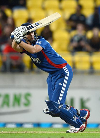 Alex Hales of Englang bats during the third Twenty20 International match between New Zealand and England at Westpac Stadium on February 15, 2013 in Wellington, New Zealand.  (Photo by Gareth Copley/Getty Images)