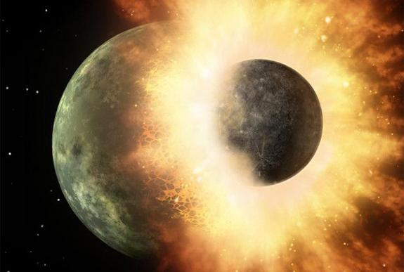 This artist's conception of a planetary smashup whose debris was spotted by NASA's Spitzer Space Telescope in 2009 gives an impression of the carnage that would have been wrecked when a similar impact created Earth's moon. Image released Oct. 1