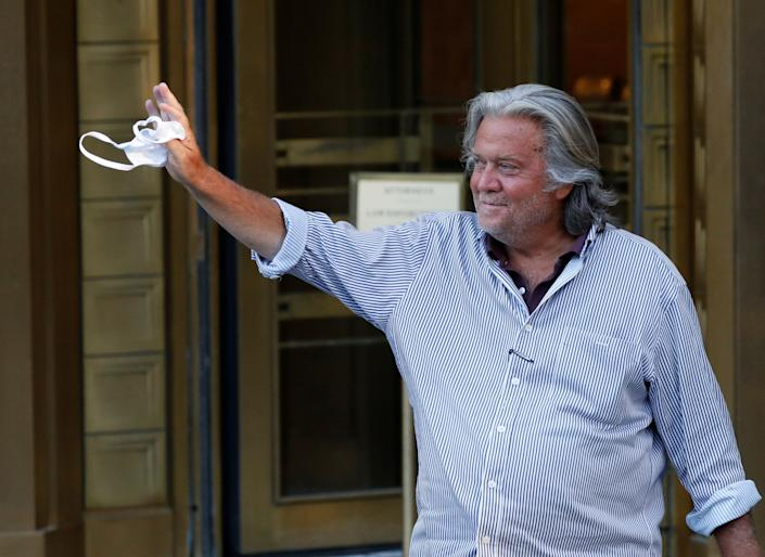 Former White House chief strategist Steve Bannon exits the Manhattan Federal Court on Aug. 20 following his arraignment hearing on conspiracy to commit wire fraud and conspiracy to commit money laundering charges. (Photo: Andrew Kelly/Reuters)