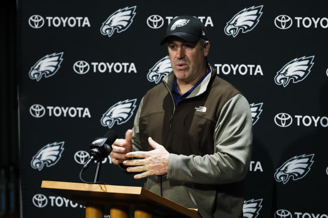 Philadelphia Eagles head coach Doug Pederson speaks with members of the media during a news conference at the team's NFL football training facility in Philadelphia, Monday, Jan. 22, 2018. The Eagles defeated the Minnesota Vikings 38-7 in the AFC Championship on Sunday to advance to the Super Bowl against the New England Patriots.(AP Photo/Matt Rourke)