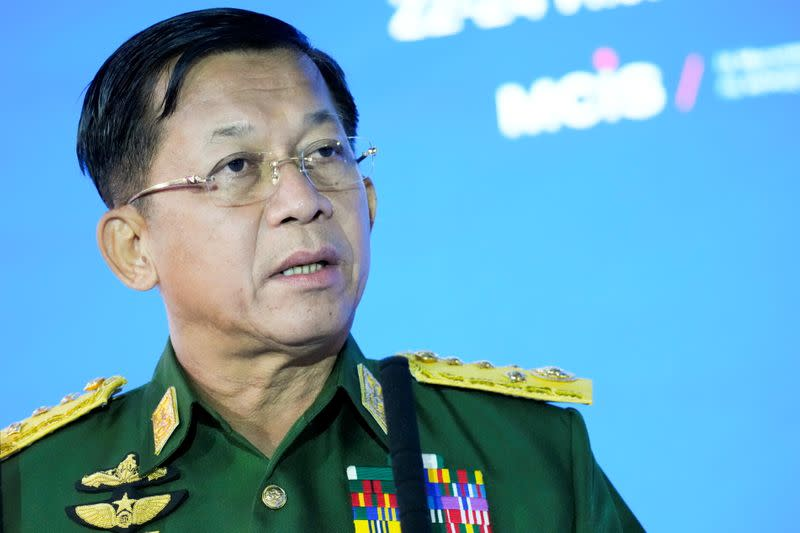 Commander-in-Chief of Myanmar's armed forces, Senior General Min Aung Hlaing delivers his speech at the IX Moscow conference on international security in Moscow