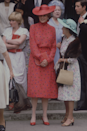 <p>You know that fashion 'rule' 'never wear red to a wedding'? Well, ever the sartorial boundary-pusher, Diana wore this strawberry-coloured print for the wedding of Nicholas Soames and we think she looks absolutely brilliant.</p>