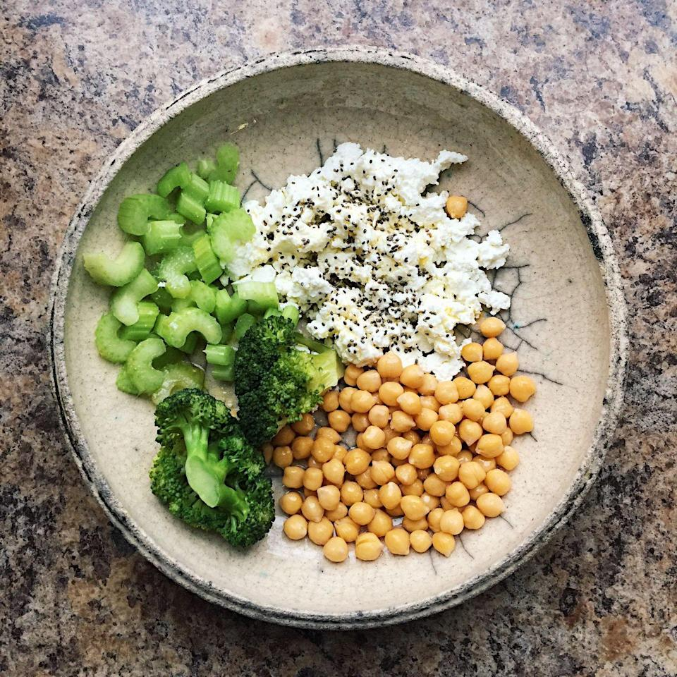 <p><strong>This protein powerhouse is extremely filling and can have a great savory flavor. </strong>Just opt for a low-sodium variety. Sprinkle on za'tar and grated cucumber or chopped roasted peppers and garlic infused olive oil for a savory twist. </p>