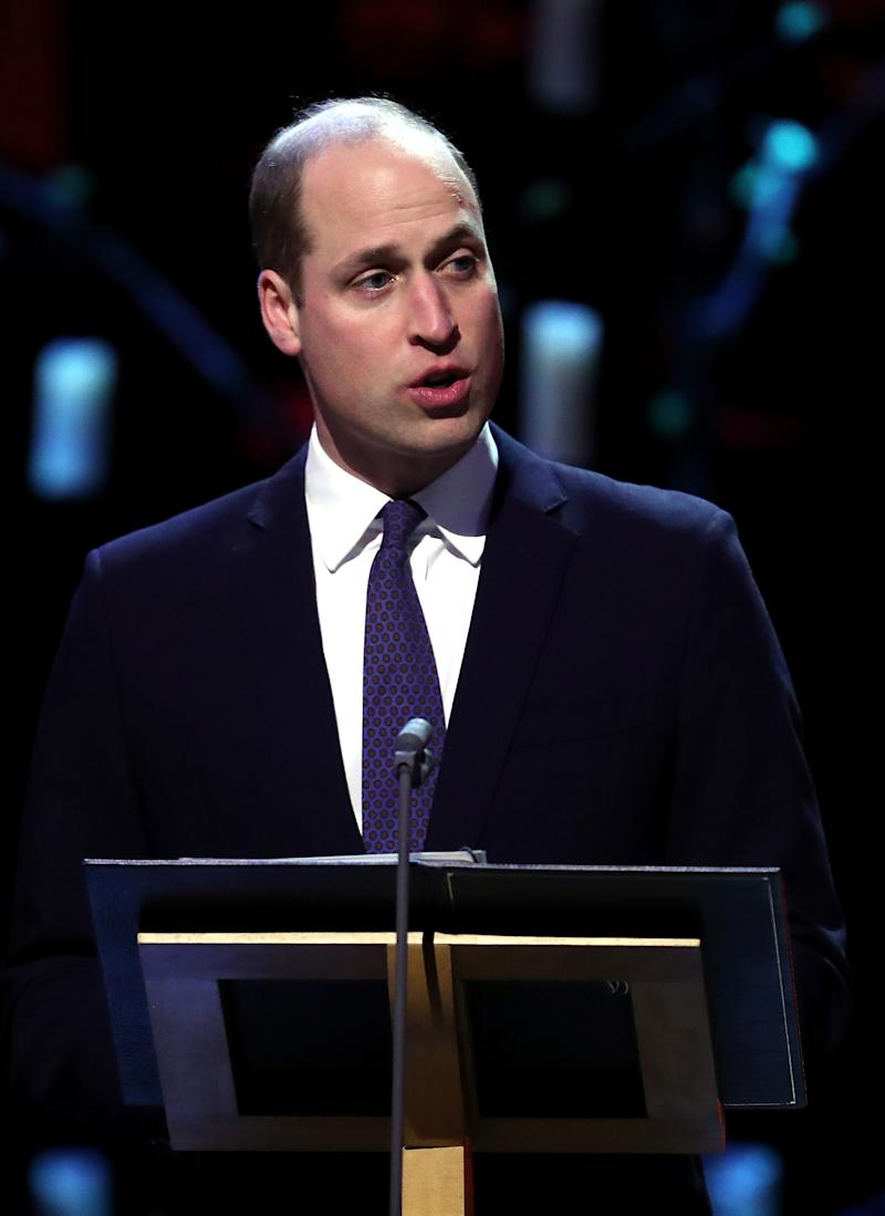 Prince William, Duke of Cambridge speaks during the UK Holocaust Memorial Day Commemorative Ceremony in Westminster on January 27, 2020 in London, England. 2020 marks the 75th anniversary of the liberation of Auschwitz-Birkenau. Holocaust memorial day takes place annually on the 27th of January, remembering the liberation of Auschwitz-Birkenau, and honoring survivors of the Holocaust, Nazi Persecution, and subsequent genocides in Bosnia, Cambodia, Rwanda, Darfur.