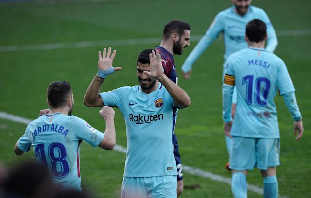 Soccer Football - La Liga Santander - Eibar vs FC Barcelona - Ipurua, Eibar, Spain - February 17, 2018 Barcelona's Jordi Alba celebrates scoring their second goal with Luis Suarez REUTERS/Vincent West