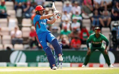 <span>Afghanistan's Rahmat Shah pulls the ball</span> <span>Credit: action images </span>