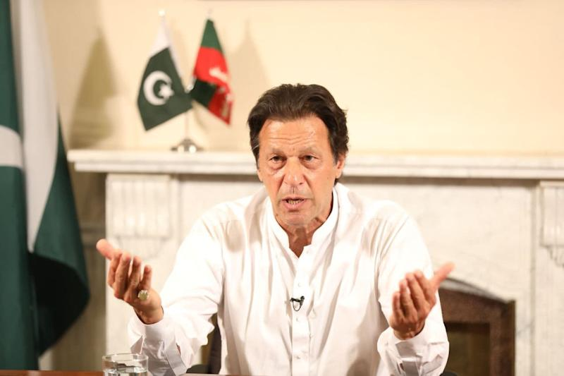 Pakistani Prime Minister Imran Khan addresses the nation after the general election results are announced in Islamabad, Pakistan on July 26, 2018.
