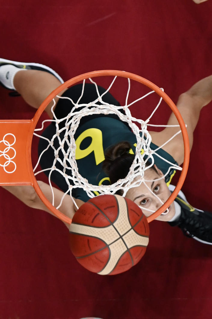 Australia's Steph Talbot (6) waits to rebound during a women's basketball game against China at the 2020 Summer Olympics, Wednesday, July 28, 2021, in Saitama, Japan. (Aris Messinis/Pool Photo via AP)
