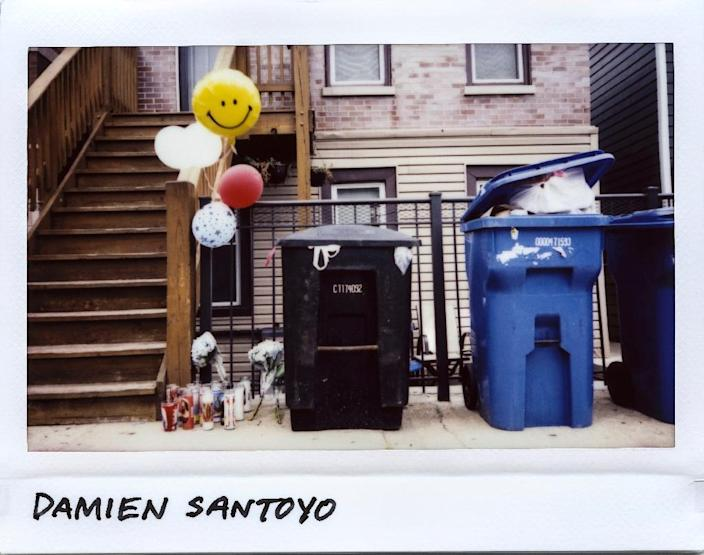 A memorial for 14-year-old Damien Santoyo, who died in a drive-by shooting on August 6, 2017, pictured in a scan of a Polaroid image (AFP Photo/JIM YOUNG)