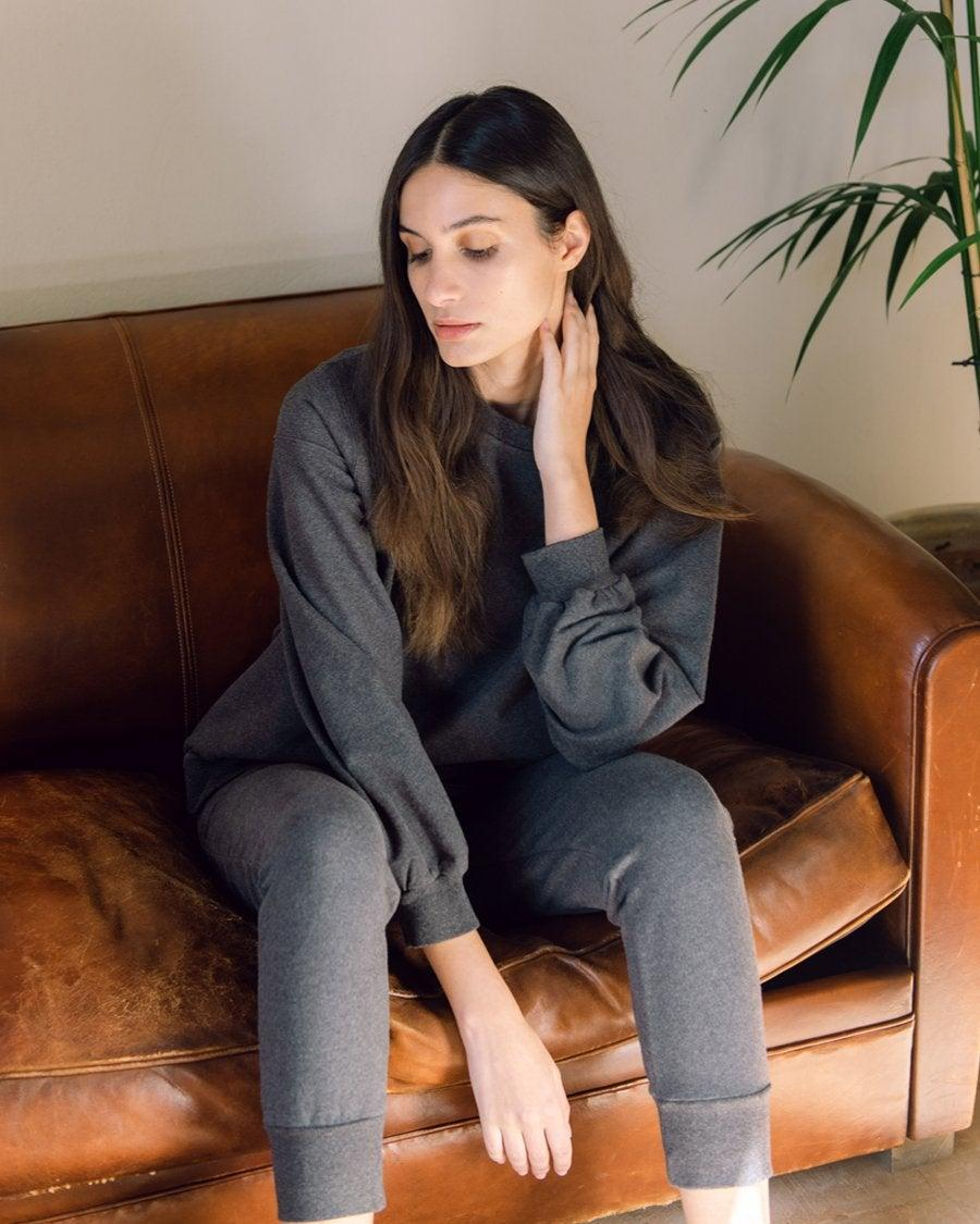 """<br><br><strong>Beaumont Organic</strong> Zadie Organic Cotton Trousers, $, available at <a href=""""https://www.beaumontorganic.com/collections/clothing/products/aw20-zadie-organic-cotton-trousers-in-dark-grey-marl"""" rel=""""nofollow noopener"""" target=""""_blank"""" data-ylk=""""slk:Beaumont Organic"""" class=""""link rapid-noclick-resp"""">Beaumont Organic</a>"""