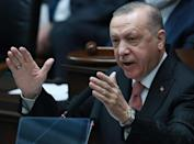 "Turkish President Recep Tayyip Erdogan rejects the claim that the 1915 massacre of Armenians by the Ottoman empire was ""genocide."""