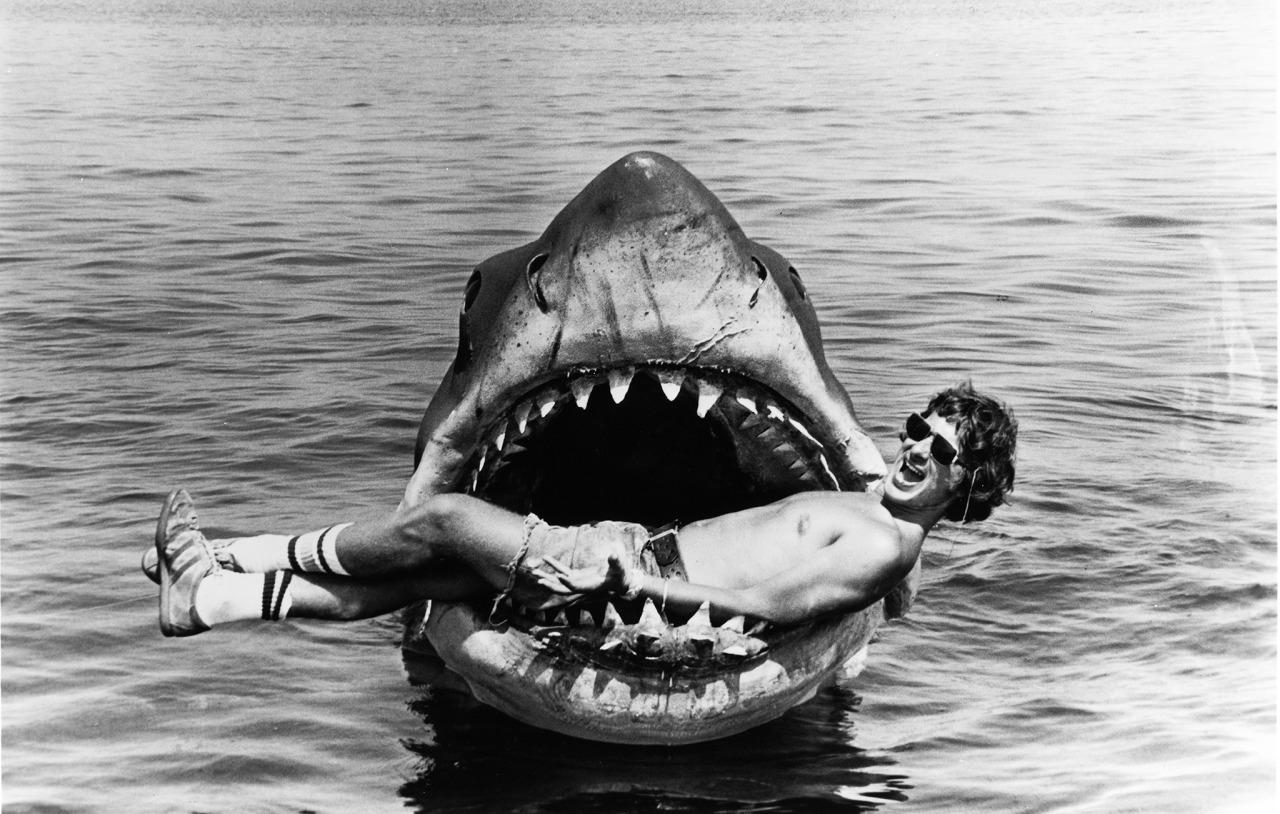 Steven Spielberg in the Mouth of Jaws (Twitter)