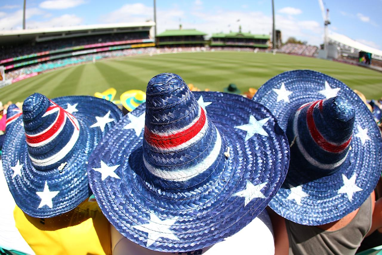 SYDNEY, AUSTRALIA - JANUARY 03:  Fans wear Australian flag sombreros in the crowd during day one of the Third Test match between Australia and Sri Lanka at Sydney Cricket Ground on January 3, 2013 in Sydney, Australia.  (Photo by Marianna Massey/Getty Images)