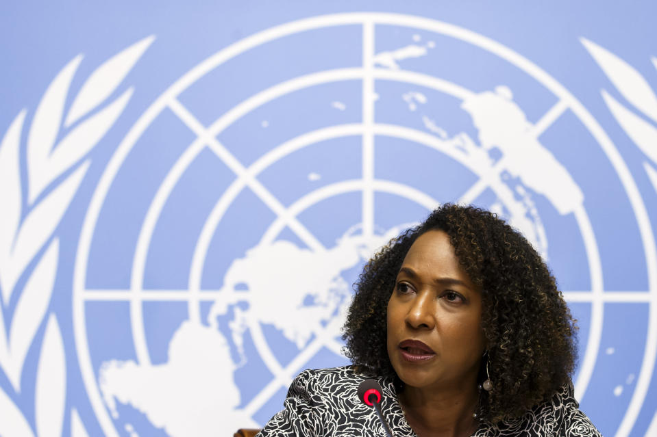 Pamela Coke-Hamilton, Director of the Division on International Trade and Commodities at the United Nations Conference on Trade and Development, UNCTAD, presents an UNCTAD's analysis on the impacts of new coronavirus COVID-19 on global value chains during a press conference at the European headquarters of the United Nations in Geneva, Switzerland, Wednesday, March 4, 2020. (Salvatore Di Nolfi/Keystone via AP)