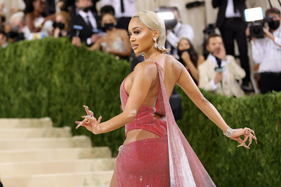 NEW YORK, NEW YORK - SEPTEMBER 13: Saweetie attends The 2021 Met Gala Celebrating In America: A Lexicon Of Fashion at Metropolitan Museum of Art on September 13, 2021 in New York City. (Photo by Mike Coppola/Getty Images)