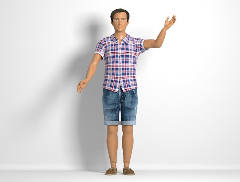 Male Lammily doll in jean shorts and hipster shirt