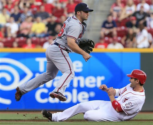 Cincinnati Reds' Joey Votto, right, slides under Atlanta Braves second baseman Dan Uggla after Uggla threw to first to make the out on Brandon Phillips and complete a double play in the third inning of a baseball game, Thursday, May 24, 2012, in Cincinnati. (AP Photo/Al Behrman)
