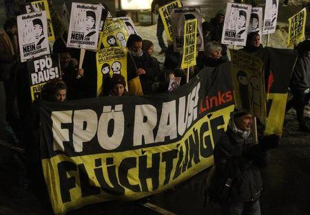 Protesters march as they demonstrate against Austrian Freedom Party's