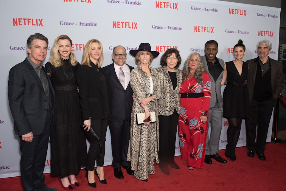 CULVER CITY, CA - JANUARY 18:  The Cast of Grace And Frankie attend Premiere Of Netflix's