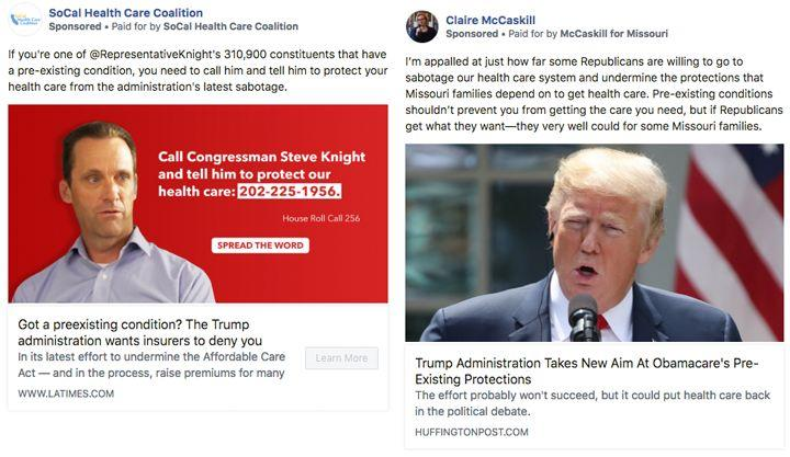 Candidates and political groups have started taking out ads attacking the Trump administration'sposition on protecting pre-existing conditions.