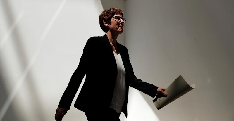 Annegret Kramp-Karrenbauer, Chairwoman of Germany's Christian Democratic Union party (CDU), leaves a news conference at the party headquarters in Berlin, Germany June 3, 2019. REUTERS/Fabrizio Bensch