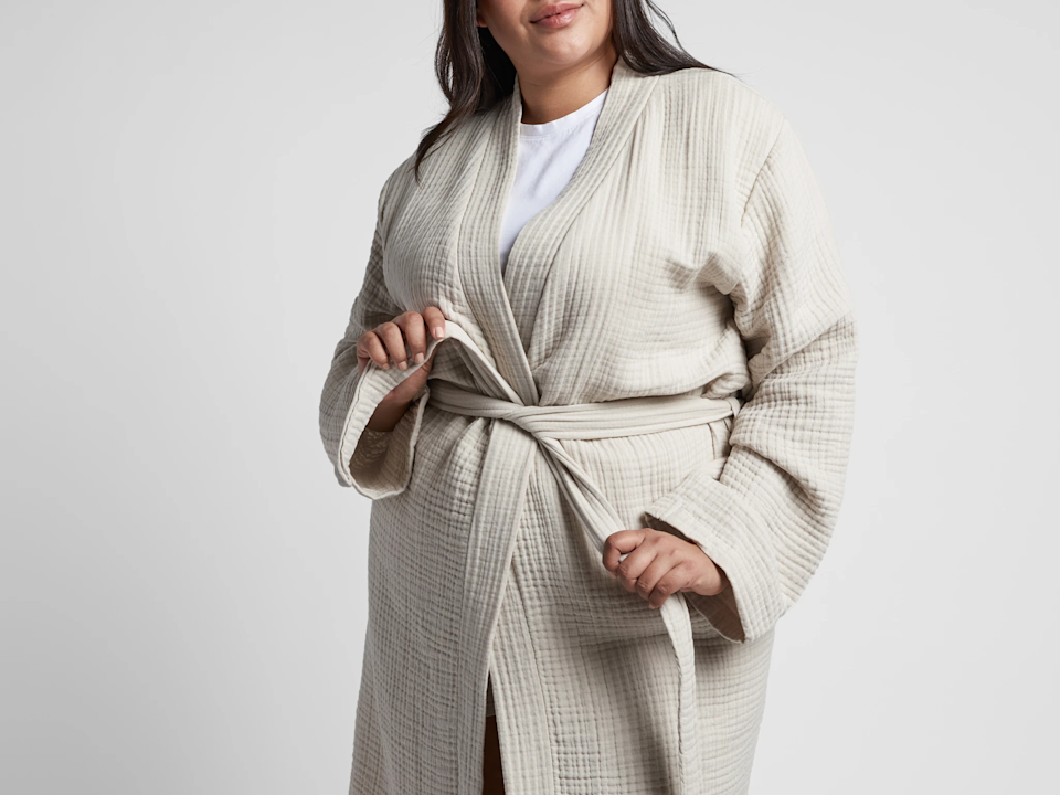 """<h3><h2>Parachute Cloud Cotton Robe</h2></h3><br>A top-rated combo of two-ply gauze and premium 100% long-staple Turkish cotton make this relaxed-fit bathrobe feel lightweight but still luxurious — oh, and we're loving the soft blush hue. <br><br>Reviews start at, """"I first purchased this robe for myself in the pink I loved it so much, I got a second one for my mother for her birthday and she loves it too. The robe is soft and the colors are so beautiful!"""" and don't end with, """"So soft. First of all, I'm the owner of many Parachute products, and [will] probably keep on adding more. I love this robe, it's so soft! I'm writing a review as I'm lounging in it with my morning cup of joe.""""<br><br><strong>Parachute</strong> Cloud Cotton Robe, $, available at <a href=""""https://go.skimresources.com/?id=30283X879131&url=https%3A%2F%2Fwww.parachutehome.com%2Fproducts%2Frobe-cloud-cotton"""" rel=""""nofollow noopener"""" target=""""_blank"""" data-ylk=""""slk:Parachute"""" class=""""link rapid-noclick-resp"""">Parachute</a>"""