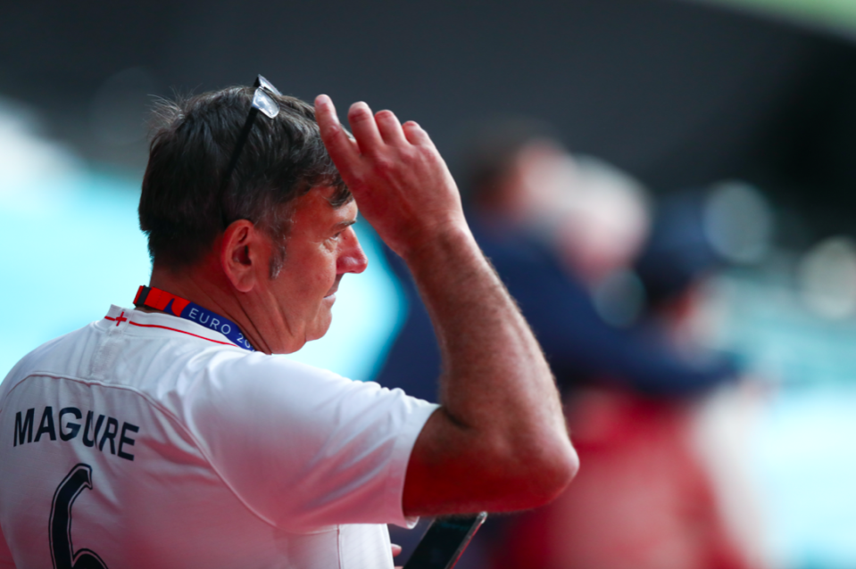 Alan Maguire, father of Harry Maguire, was caught up in the chaotic scenes inside Wembley Stadium on Sunday. (Robbie Jay Barratt/AMA/Getty)