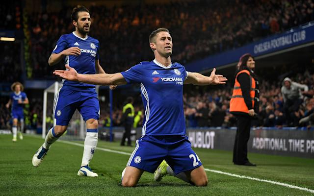 <span>Gary Cahill celebrates scoring Chelsea's second</span>
