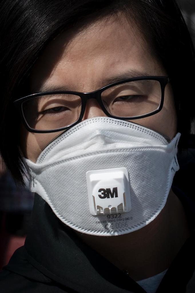 A woman wears a protective mask to reduce the effects of air pollution in Beijing (AFP Photo/NICOLAS ASFOURI)