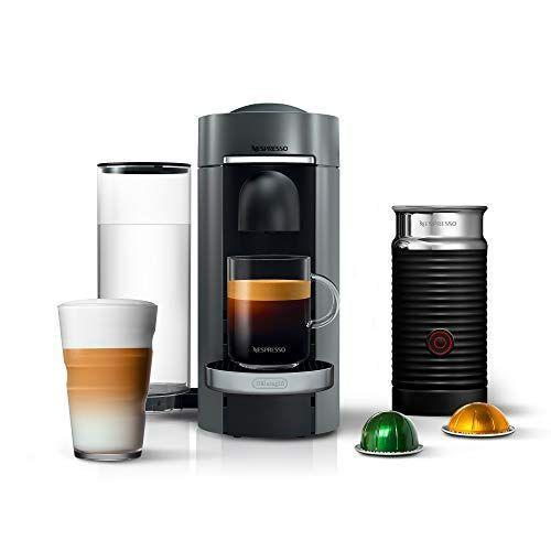"""<p><strong>Nestle Nespresso</strong></p><p>amazon.com</p><p><strong>$160.30</strong></p><p><a href=""""https://www.amazon.com/dp/B07RN24M4L?tag=syn-yahoo-20&ascsubtag=%5Bartid%7C10063.g.34655387%5Bsrc%7Cyahoo-us"""" rel=""""nofollow noopener"""" target=""""_blank"""" data-ylk=""""slk:Shop Now"""" class=""""link rapid-noclick-resp"""">Shop Now</a></p><p>It's time to help the coffee drinker in your life level up with the impressive Nespresso VertuoPlus Deluxe Coffee and Espresso Maker. Whether you're new to drinking coffee or a veteran, this machine is as simple as pressing one button. This bundle also includes an Aeroccino Milk Frother by De'Longhi. </p>"""