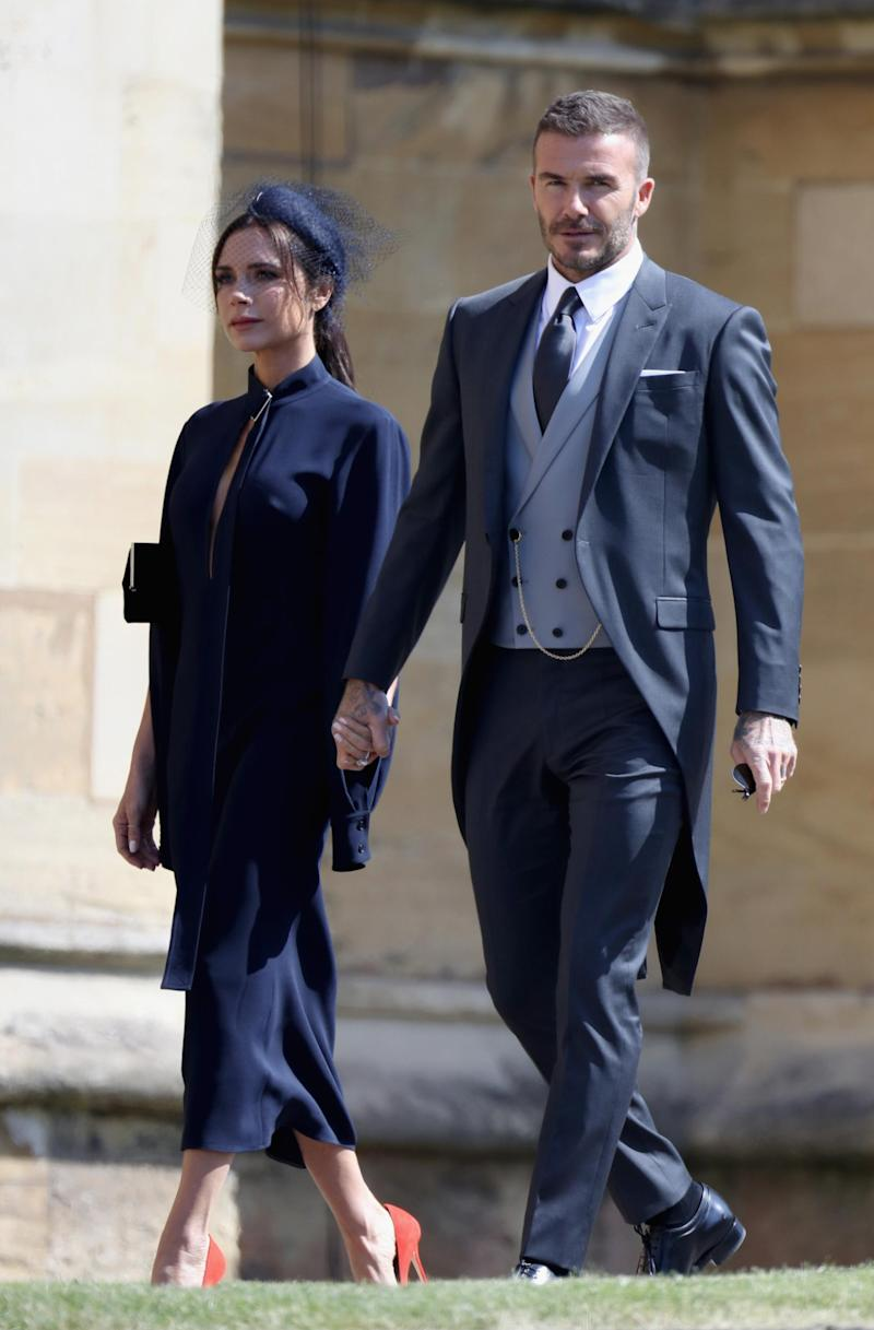 Victoria Beckham and David Beckham attend Prince Harry and Meghan Markle's wedding(Getty Images)