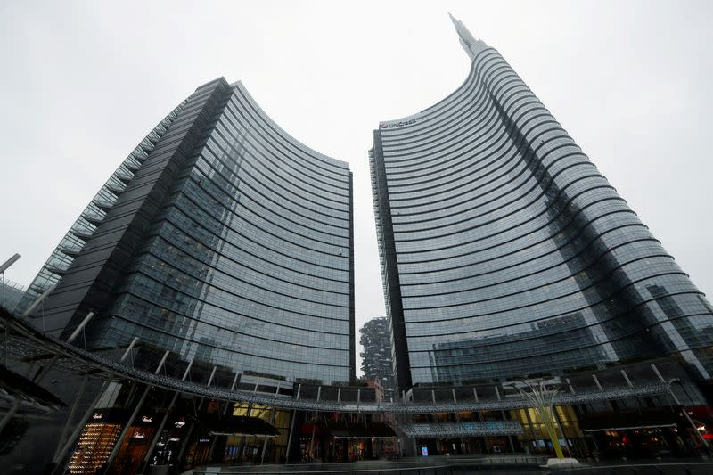 A view of the Unicredit headquarters of which many employees are working from home due to a coronavirus outbreak, in Milan