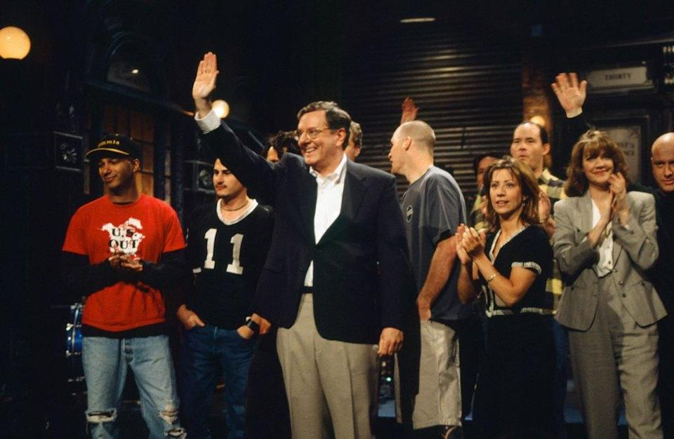 """SATURDAY NIGHT LIVE -- Episode 17 -- Pictured: (l-r) Tom Morello, Steve Forbes, Cheri Oteri during """"Godnights"""" on April 13, 1996 -- (Photo by: Alan Singer/NBCU Photo Bank/NBCUniversal via Getty Images via Getty Images)"""