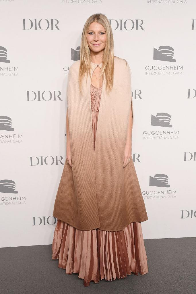 <p>Gwyneth Paltrow gave lessons in how to wear this season's trickiest accessory (the cape) at the Guggenheim International Gala Dinner on November 15. <em>[Photo: Getty]</em> </p>