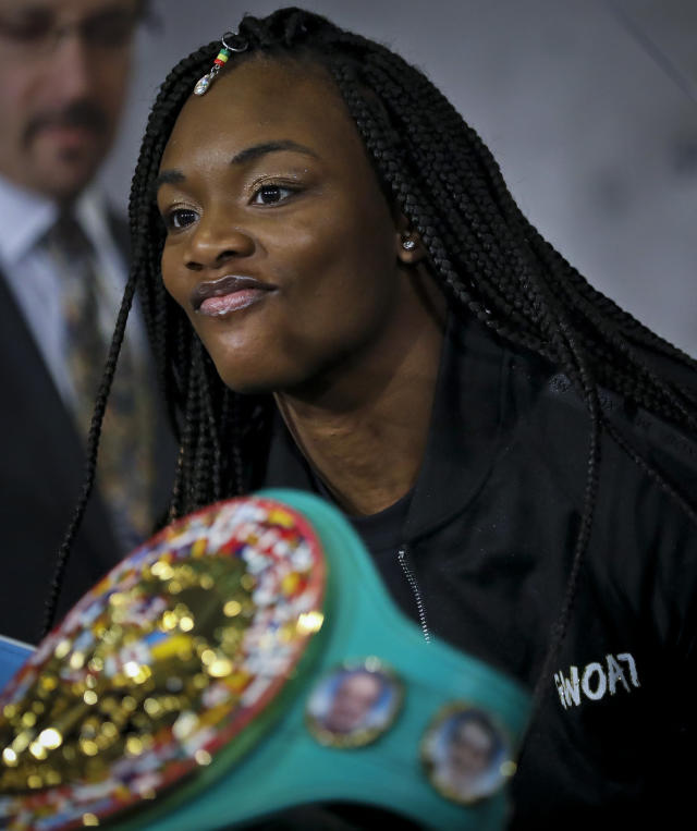 In a Feb. 26, 2019, Photo, Claressa Shields attends a news conference in New York for her upcoming boxing bout against Germany's Christina Hammer for the middleweight championship.Shields and Hammer are the first female boxers featured on Showtimes All Access, with the next episode Friday on its YouTube sports channel. (AP Photo/Bebeto Matthews)