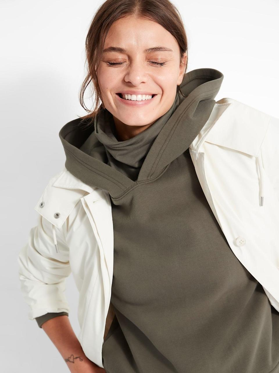 <p>You get an extra mask layer with this <span>Scuba-Knit Hoodie</span> ($60).</p>
