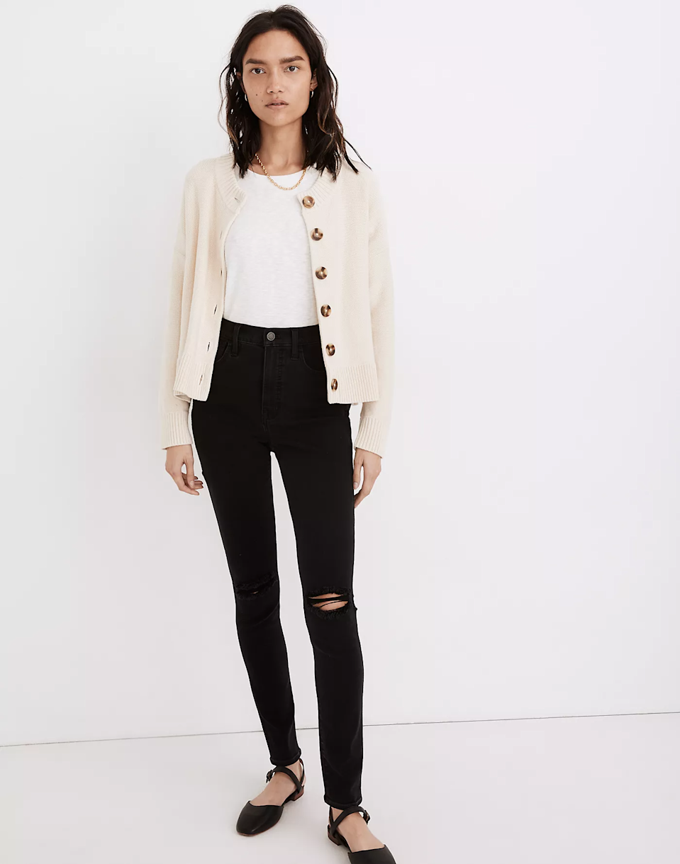 """<br><br><strong>Madewell</strong> Broadway Cardigan Sweater, $, available at <a href=""""https://go.skimresources.com/?id=30283X879131&url=https%3A%2F%2Fwww.madewell.com%2Fbroadway-cardigan-sweater-MC851.html"""" rel=""""nofollow noopener"""" target=""""_blank"""" data-ylk=""""slk:Madewell"""" class=""""link rapid-noclick-resp"""">Madewell</a>"""