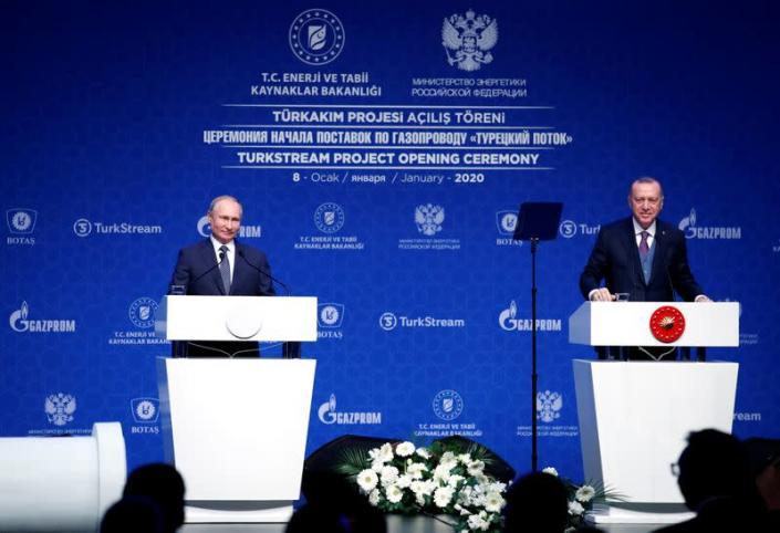 Turkish President Tayyip Erdogan and Russian President Vladimir Putin attend a ceremony marking the formal launch of the TurkStream in Istanbul