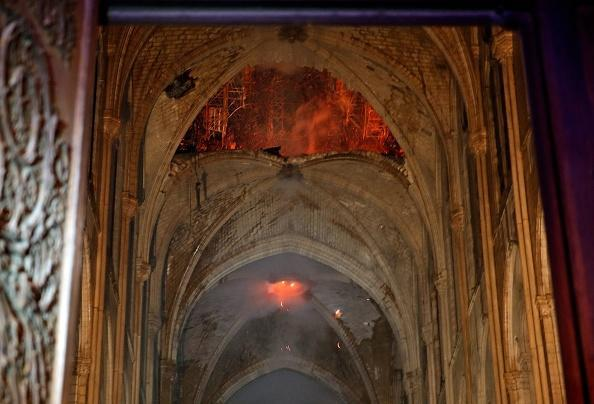 The roof inside the towers has partially fallen away. Source: Getty