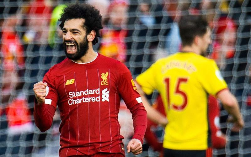 Mohamed Salah scored both of Liverpool's goals in their home win - REX