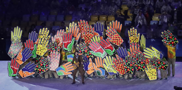 <p>Singer Lenine performs during the closing ceremony in the Maracana stadium at the 2016 Summer Olympics in Rio de Janeiro, Brazil, Sunday, Aug. 21, 2016. (AP Photo/Chris Carlson) </p>