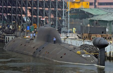 Indian Navy's INS Arihant submarine is pictured at the naval warehouse in the southern Indian city of Visakhapatnam